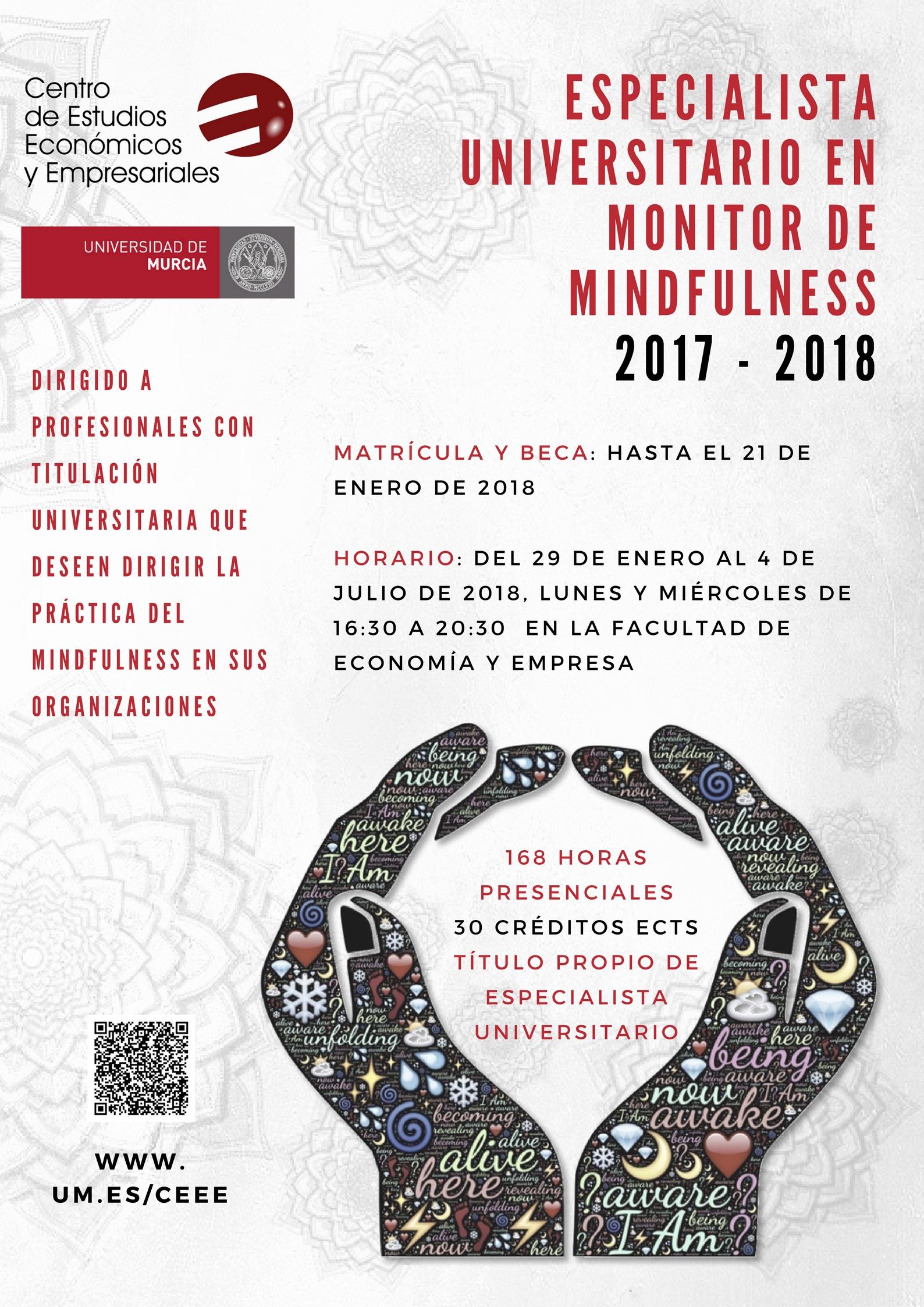 Cartel Curso Mindfulness Universidad de Murcia